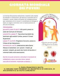 """""""Questo povero grida e il Signore lo ascolta"""" – Iniziative della Caritas Arborense in occasione della Giornata Mondiale dei Poveri"""
