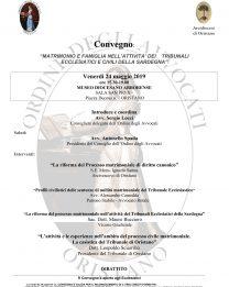 """Convegno su """"Matrimonio e Famiglia nell'attività dei Tribunali Ecclesiastici e Civili della Sardegna"""""""